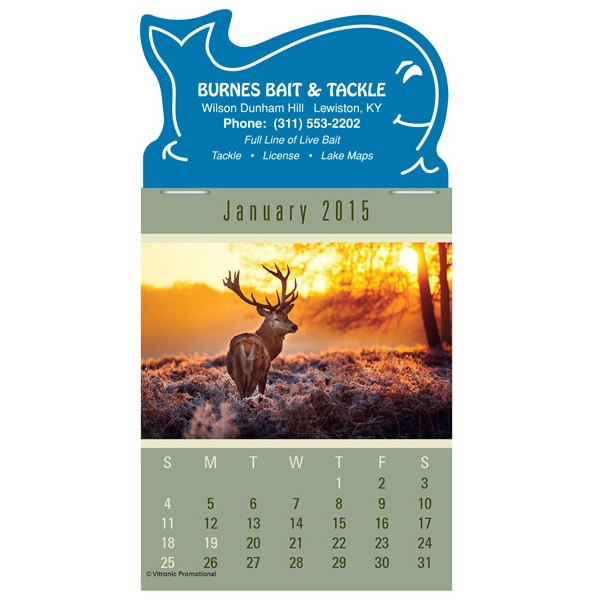 Press-n-stick (tm) Sportsman - Twelve Month Stick-on Calendar Pad With A Variety Of Outdoor Sports Photo