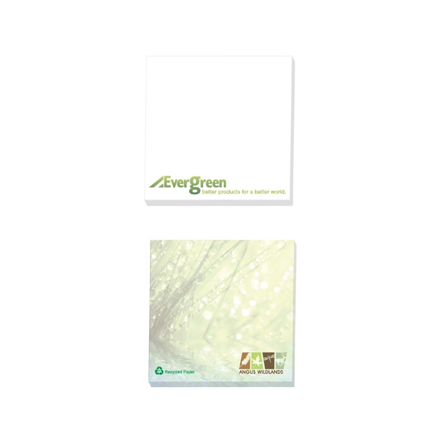 "Ecolutions (r) - 50 Sheets - Adhesive Notepad, 3"" X 3"". Made With 30% Recycled White Paper Stock Photo"