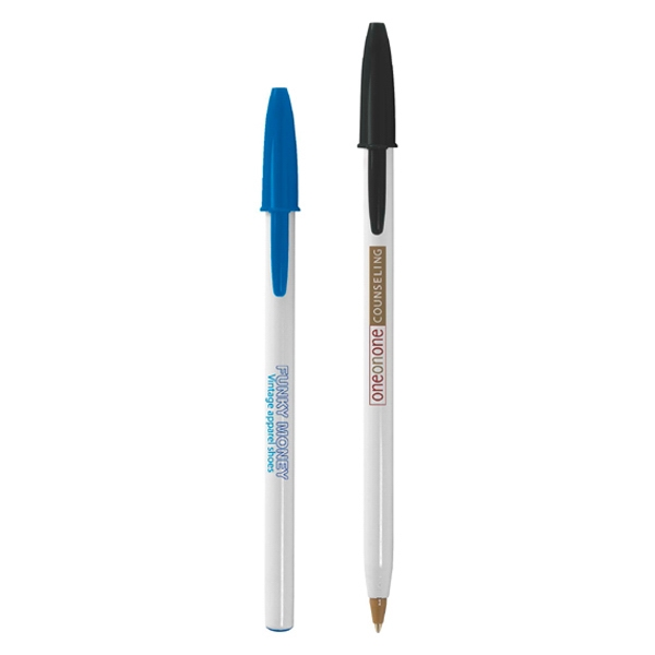 Bic (r) Style (r) - Pen With Cap And Slim Profile. Pen Has White Barrel, Medium Point And Black Ink Photo