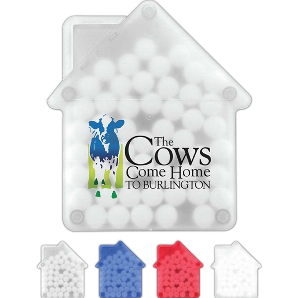Sugar Free Peppermints In House Shaped Container Photo