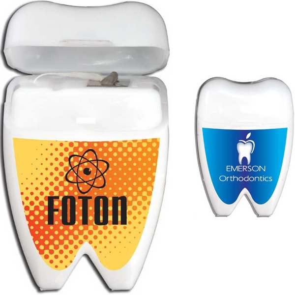 Mint Flavored Dental Floss In A Tooth Shaped Holder Photo