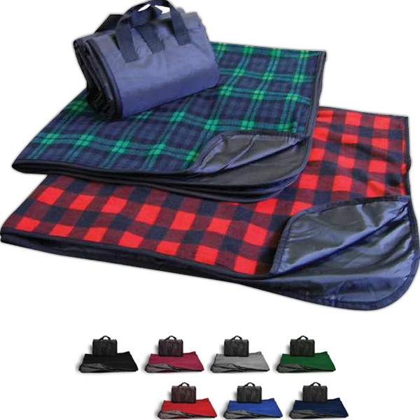 Plaid Fleece Picnic Blanket With Water Repellent Shell Photo