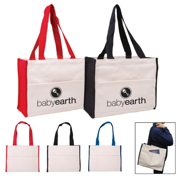 All Natural Cotton Canvas Tote Bag With Color Side Panels And Matching Handles Photo