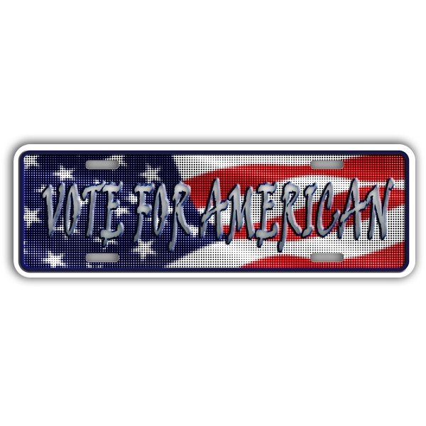 Custom Embossed Auto Rider Aluminum License Plate. 4 Color Process Imprint Photo