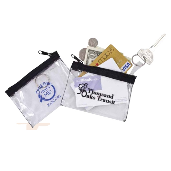 Crystal Zip - Crystal Clear Zip Pouch With Black Nylon Trim And Zipper Photo