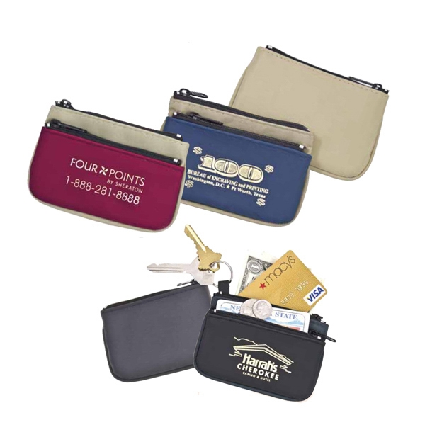The Twin Zip - Versatile Two-tone Coin Purse In A Suede-style Vinyl/microfiber Combo. Imported Photo