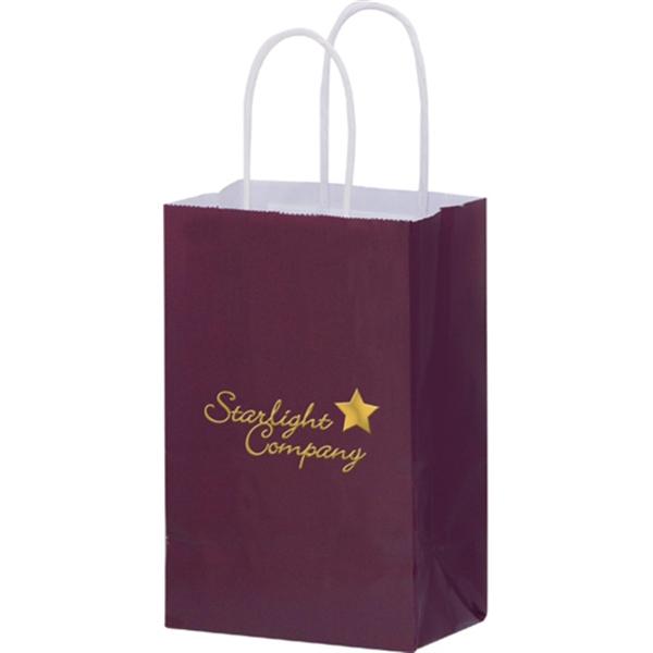 Color Gloss Paper Shopper Bags - Foil Stamp