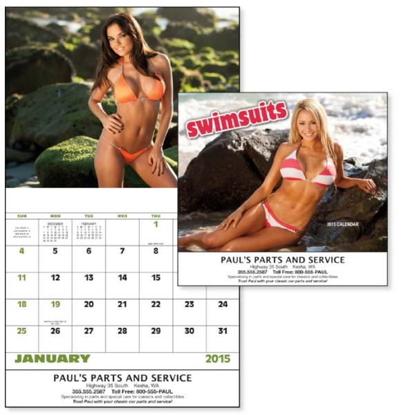 Stapled, 13-month 2015 Calendar With Photos Of Beautiful Swimsuit Models Photo