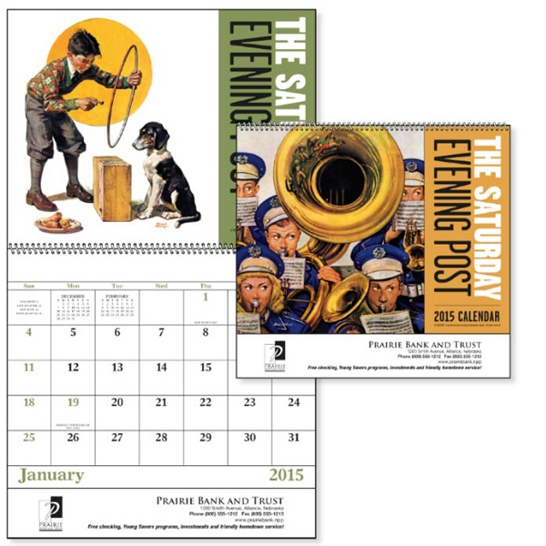 The Saturday Evening Post - Spiral, 13-month 2015 Calendar With Nostalgic Illustrations Photo