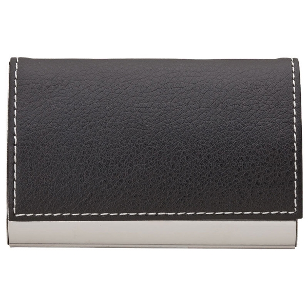 Textured Leatherette Black And Silver Finish Business Card Case With Contrast Stitch Photo