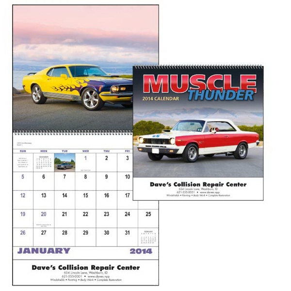 A Variety Of Impressive Muscle Cars Are Showcased In This 13-month 2015 Calendar Photo