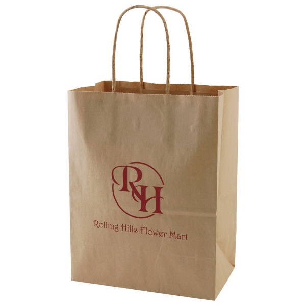"8"" X 10.5"" - Natural Color Kraft Paper Shopping Bag With Handles Photo"