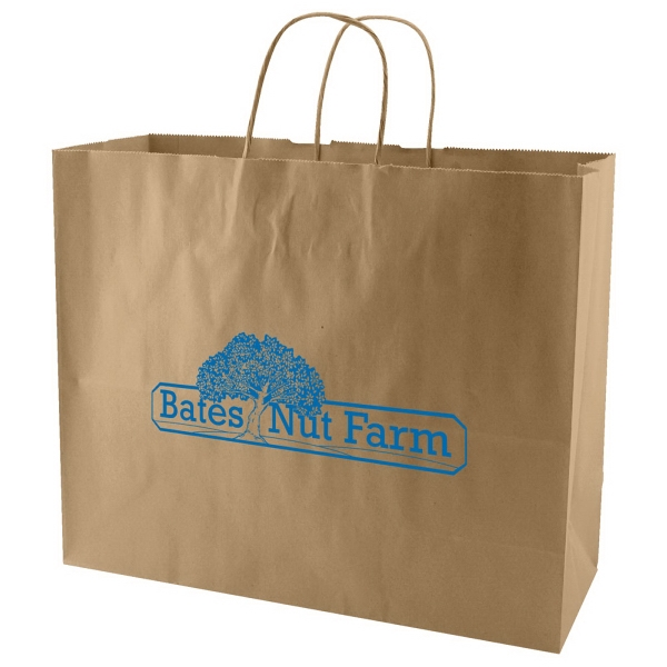 "16"" X 13"" - Natural Color Kraft Paper Shopping Bag With Handles Photo"