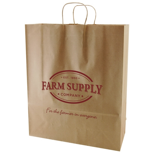 "16"" X 19.25"" - Kraft Paper Natural Color Shopping Bag With Handles Photo"