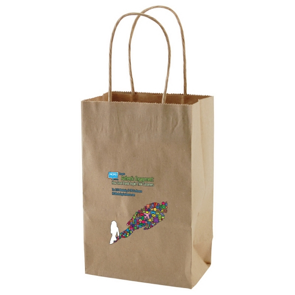 "Enviro Sacks (tm) - 5.5"" X 8.375"" - Recycled, Natural Kraft Paper Shopping Bag Photo"