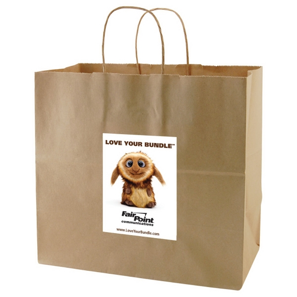 "Enviro Sacks (tm) - 13"" X 12.5"" - Recycled, Natural Kraft Paper Shopping Bag Photo"