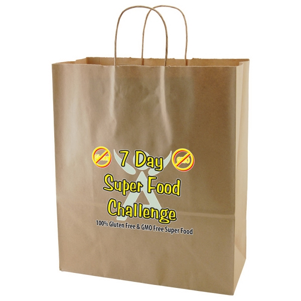 "Enviro Sacks (tm) - 13"" X 15.75"" - Recycled, Natural Kraft Paper Shopping Bag Photo"