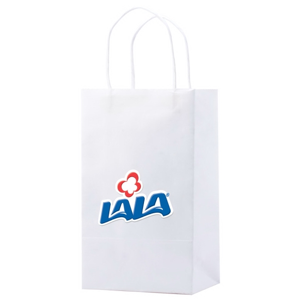 "5.25"" X 8.5"" - White Kraft Paper Shopping Bag With Handles Photo"