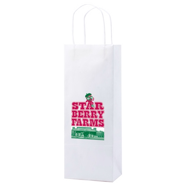 "5.25"" X 13"" - White Kraft Paper Shopping Bag With Handles Photo"