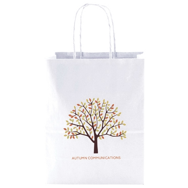 "8"" X 10.5"" - White Kraft Paper Shopping Bag With Handles Photo"