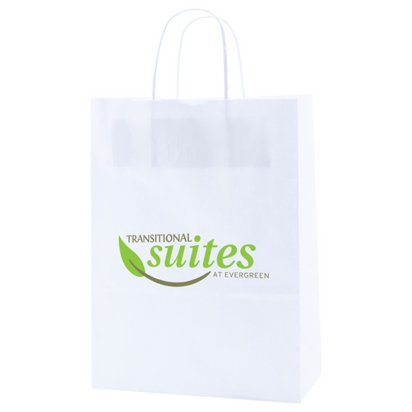 "10"" X 13.5"" - White Kraft Paper Shopping Bag With Handles Photo"