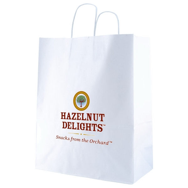 "13"" X 15.75"" - White Kraft Paper Shopping Bag With Handles Photo"
