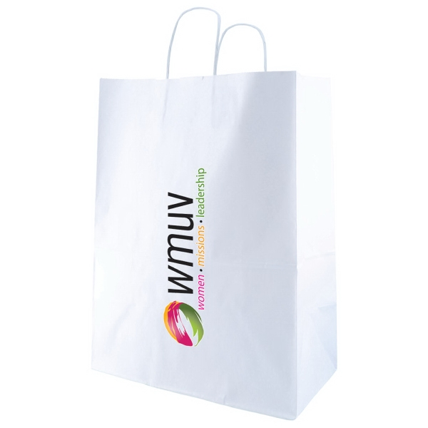 "13"" X 17.5"" - White Kraft Paper Shopping Bag With Handles Photo"
