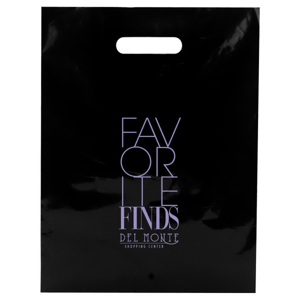 "Enviro Sacks (tm) - 12"" X 15"" - Black Shopping Bag With Color Patch Handle, 2.5 Mil Low Density Color Film Photo"