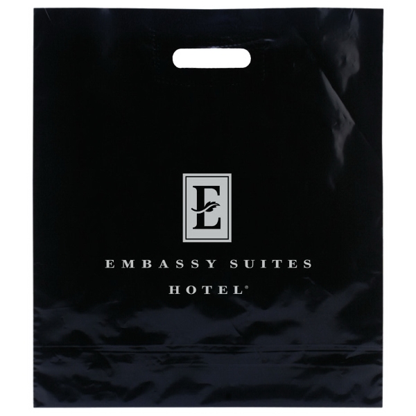 "Enviro Sacks (tm) - 16"" X 18"" - Black Shopping Bag With Color Patch Handle, 2.5 Mil Low Density Color Film Photo"