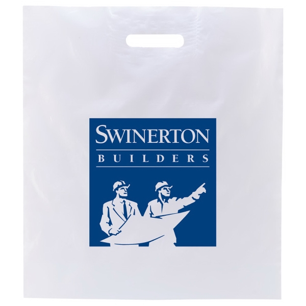 "Enviro Sacks (tm) - 16"" X 18"" - White Shopping Bag With Patch Handle And Gusset, 2.5 Mil Low Density White Film Photo"