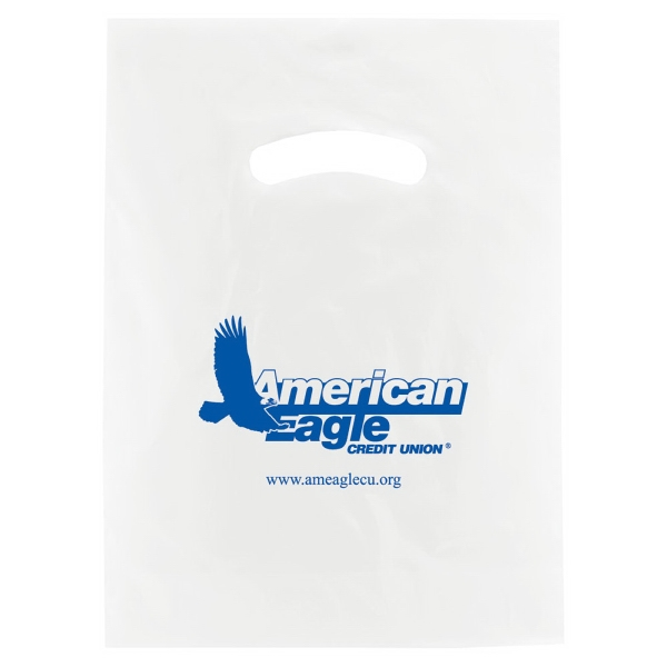 "Enviro Sacks (tm) - 9"" X 12"" - White Super Gloss Die Cut Handle Plastic Bag, 2.5 Mil Low Density Single Layer Film Photo"