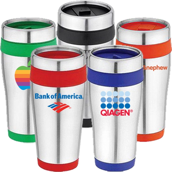 Stainless Steel 16 Oz. Travel Tumbler Or Mug With Thumb Slide Lid Photo
