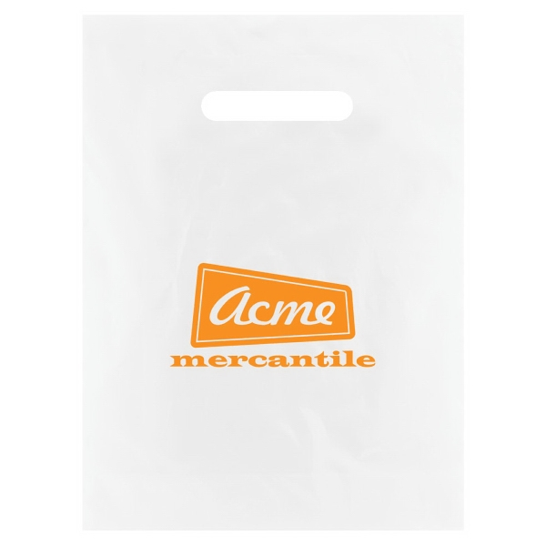 "9"" X 12"" - Frosted Die Cut Merchandise Bag, 2.5 Mil High Density Clear Film Only Photo"