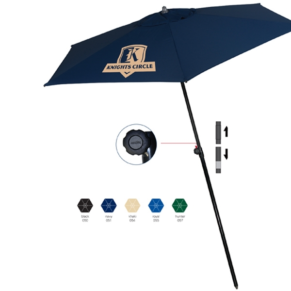 Tropical European Style Round Market Umbrella Features A 2 Piece Pole With Tilt Photo