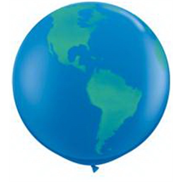 Qualatex (r) - Giant Globe Design Round Latex Balloon. Blank Photo