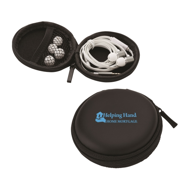 Stereo Earbuds - Stereo earbuds with microphone in black protective zippered case.