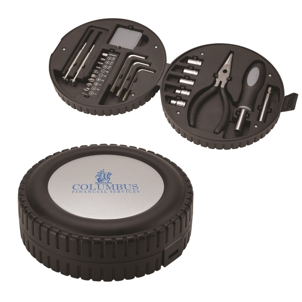 24 piece tool set - Tool kit in tire shaped case.
