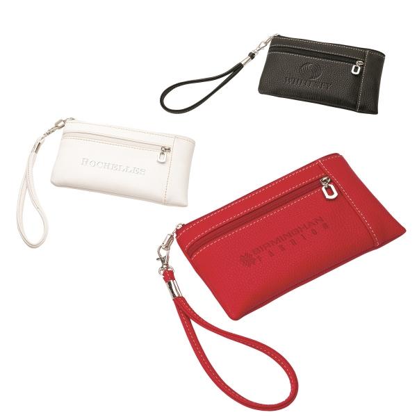 Wristlet Wallet - Soft leatherette women's wristlet wallet with zippered front pocket.