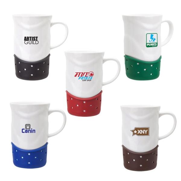 Ceramic Mug - Ceramic mug, 14 oz. with a white dotted wave design.