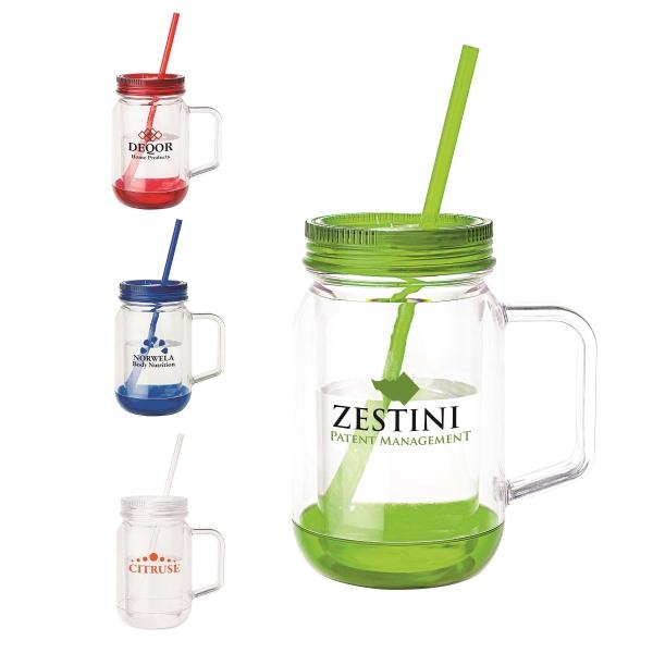 17 oz Handled Mason Jar Mug - Double wall mason jar shape mug with screw off jar lid/color drinking straw.