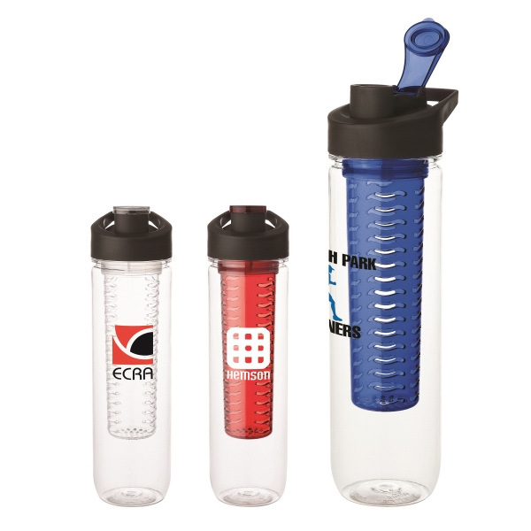 28 oz Tritan (TM) water bottle with infuser - Water bottle with integrated fruit infuser, twist off lid and carry handle.