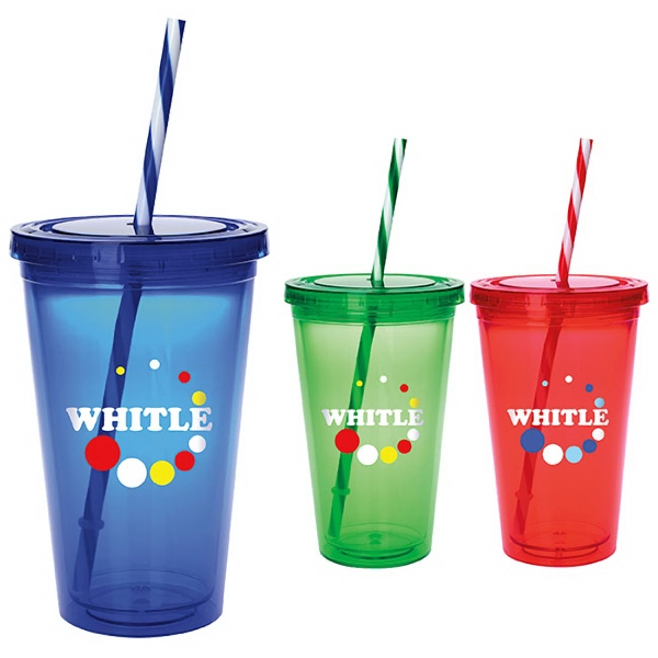 Colored Candy Cane Tumbler - 18 oz