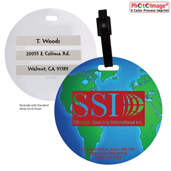 Stock Mini Globe Luggage Bag Tag with Pr