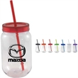 28 oz Mason jar with colored lids and straw