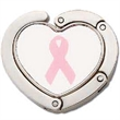 Foldable Purse Holder Heart - Stock breast cancer awareness ribbon image and heart shape foldable purse holder.