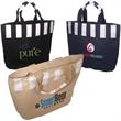 Festival Tote - Jute and cotton tote with internal lamination and zippered closure.
