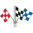 Cluster Set - Checker Hand Flags - Set of three 3' x 3' nylon checked cluster flags with pole and hardware.