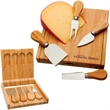 Bamboo Cheese Set - Bamboo cheese set with clamshell-style bamboo case.