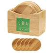 5 Piece Bamboo Coaster Set With Coaster Stand - 5 piece bamboo coaster set with coaster stand.
