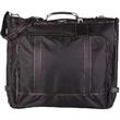 Garment Bag - Black smooth lightweight nylon garment bag with leather look details.
